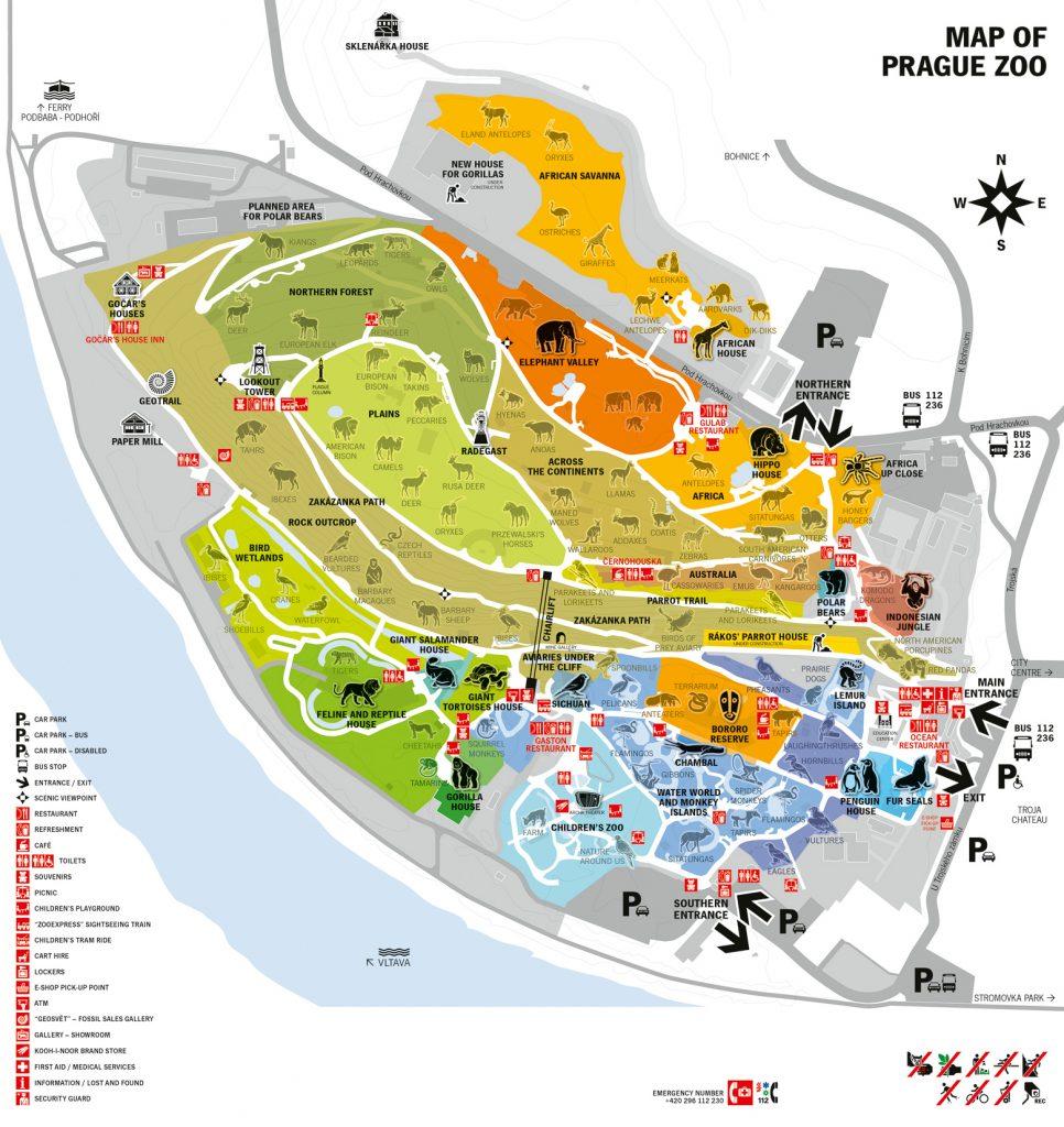 De plattegrond van de dierentuin in Praag